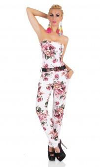 Damen Bandeau Overall mit Gürtel Jumpsuit Rosen Print