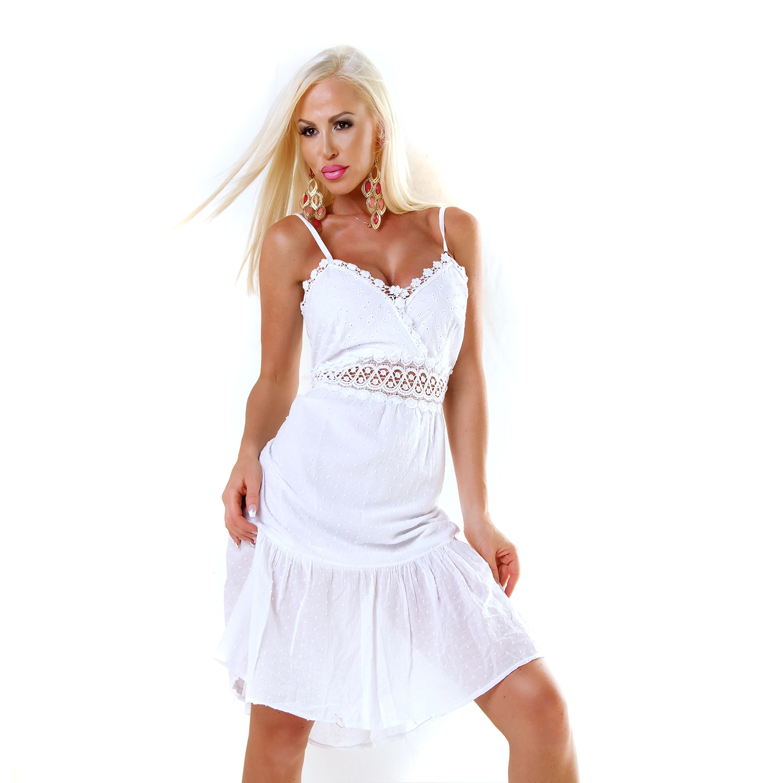 Sommer Kleid Schleife am Rücken Baumwolle mit Lochstickerei