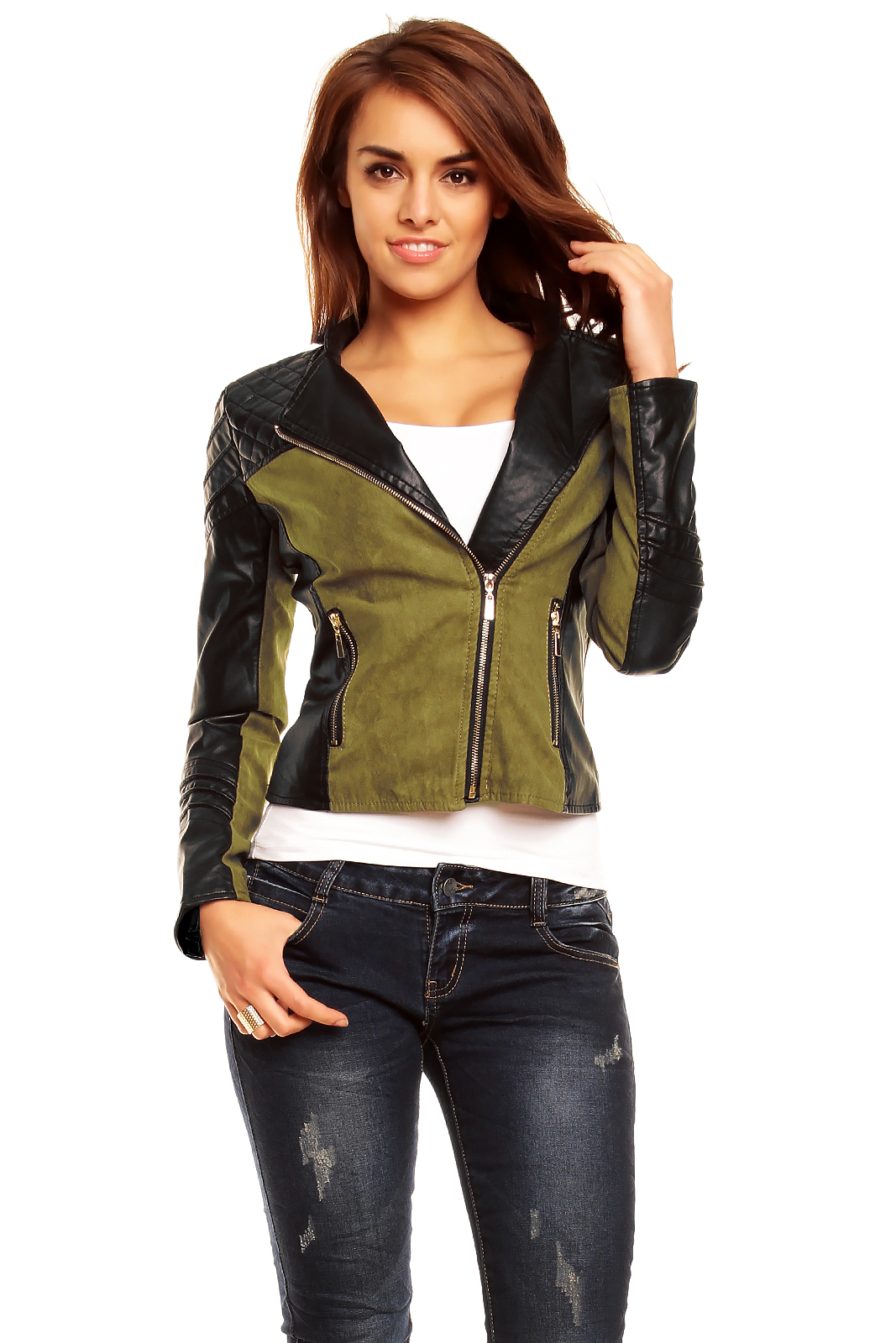 Khaki Damen In Jacke Lederärmel Mit rdEBoeQCWx