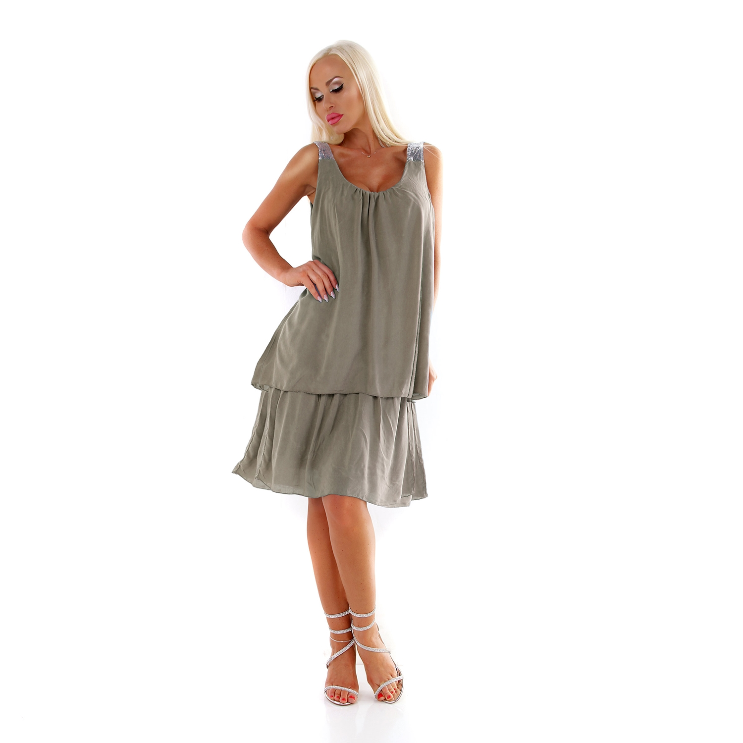 Damen Sommer Kleid A-Linie Tunikakleid in Lagen Look