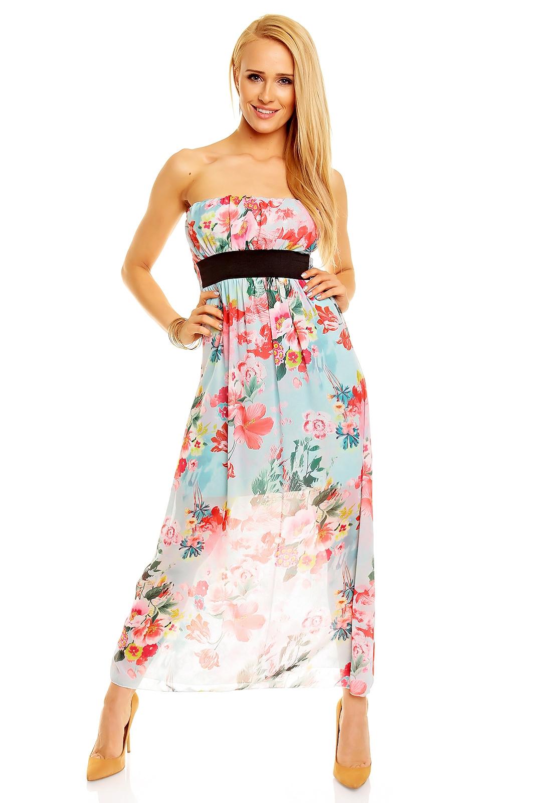 ... langes Sommerkleid bunt aqua mint rosa weiß beige  günstige kleider