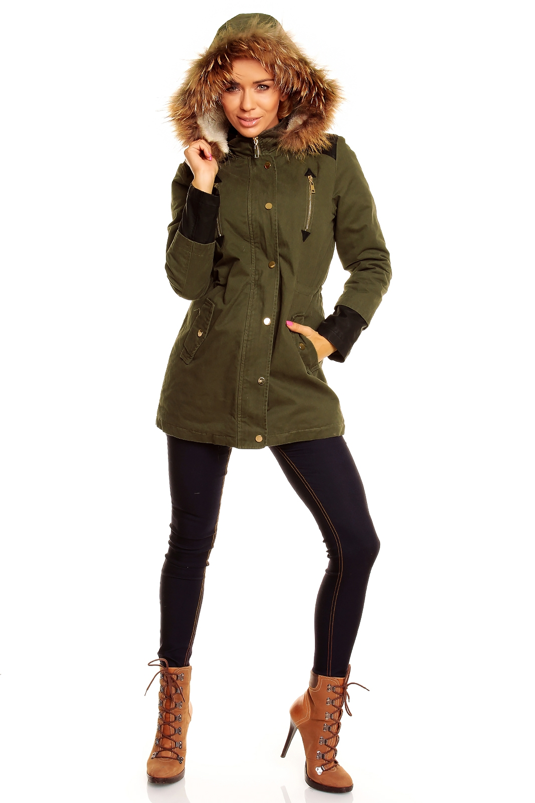damen parka mit echtpelz kapuze khaki winterjacke g nstige kleider. Black Bedroom Furniture Sets. Home Design Ideas